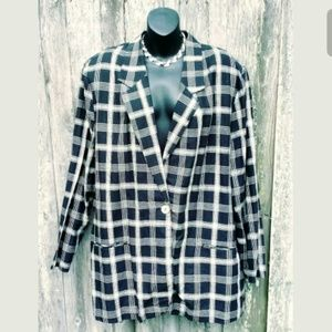 Requirements Jackets & Coats - 💚 Requirements Woman Black & White Plaid Blazer